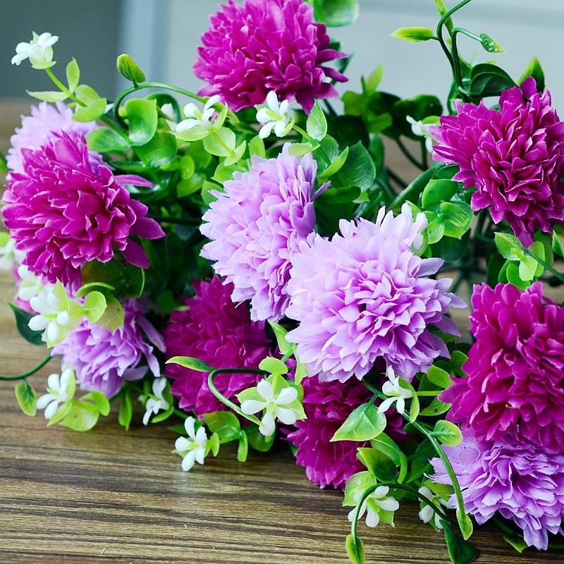 artificial silk plastic flowers fake bouquet cheap for wedding decoration mariage boda flores plants Silk ball chrysanthemum(China (Mainland))