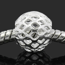 Buy DoreenBeads Copper European Charm Beads Round Ball Silver color Hollow 10x9mm,Hole:Approx 4.5mm,30PCs 2015 new for $2.10 in AliExpress store