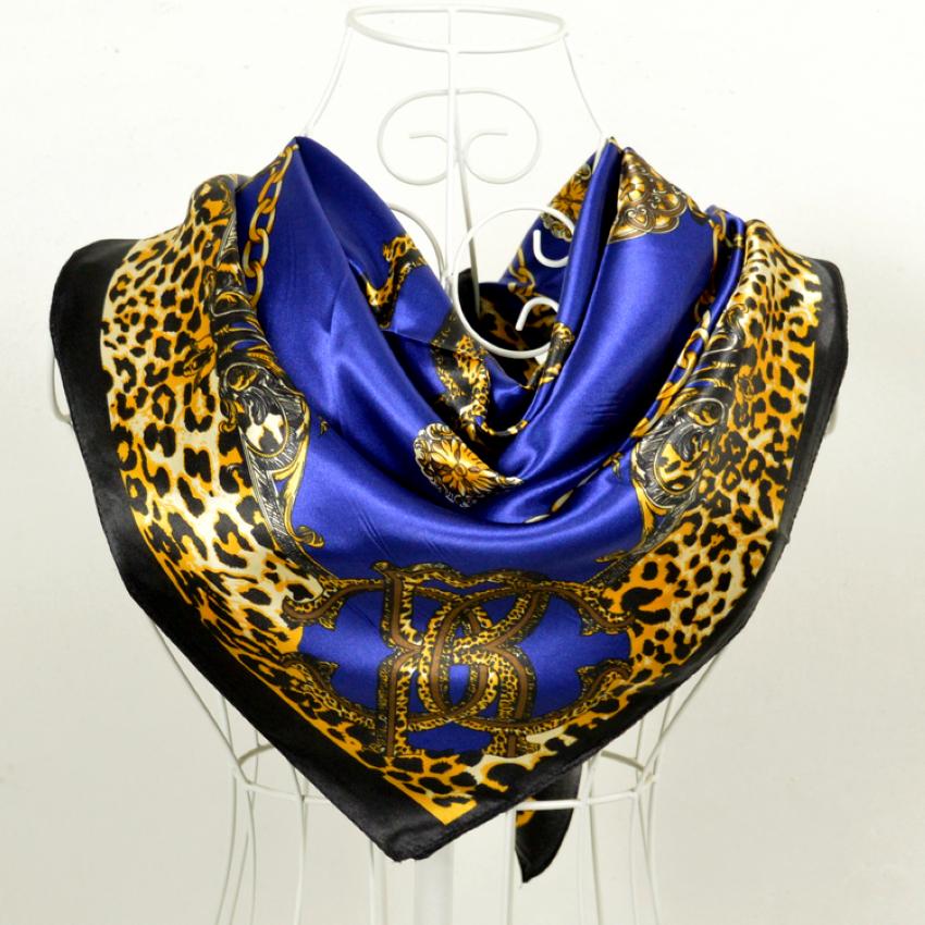 Cachecois Women Dark Blue Silk Shawl Scarf Printed New Design Leopard Print Chain Pattern Wraps Scarves Spring 90cm Satin Scarf(China (Mainland))