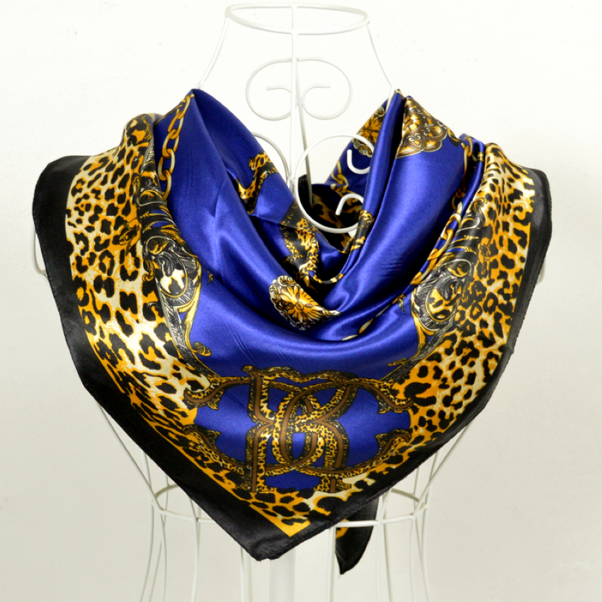 Cachecois Women Dark Blue Silk Shawl Scarf Printed New Design Leopard Print Chain Pattern Wraps Scarves Spring 90cm Satin Scarf(China (Mainland))