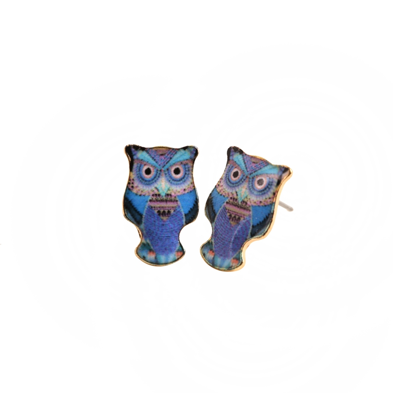 2016 New Fashion Owl Lover Memorial Earrings for Girl Blue Owl Kite Earrings Jewelry Free shipping OED031(China (Mainland))