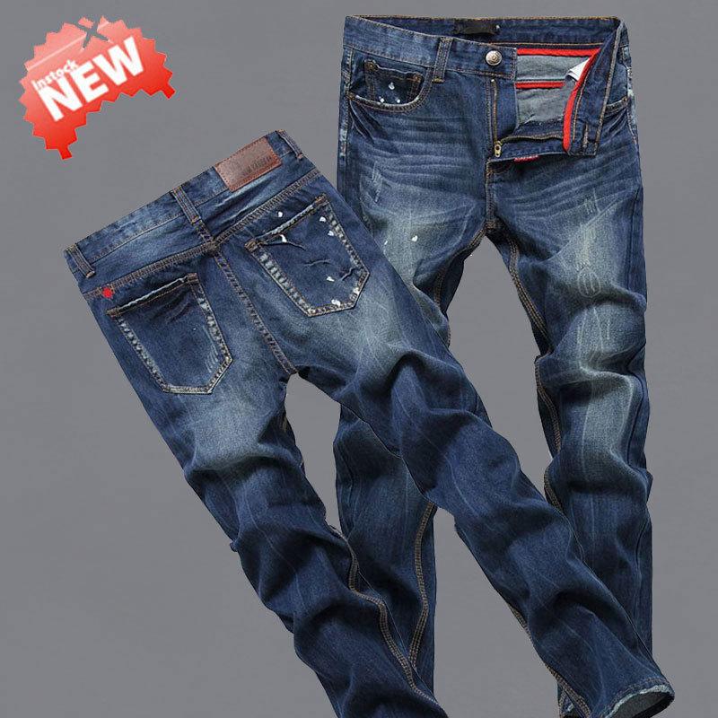 Мужчины джинсы хлопок деним джинсы свободного покроя прямой моющийся брюки dsq джинсы 5002b