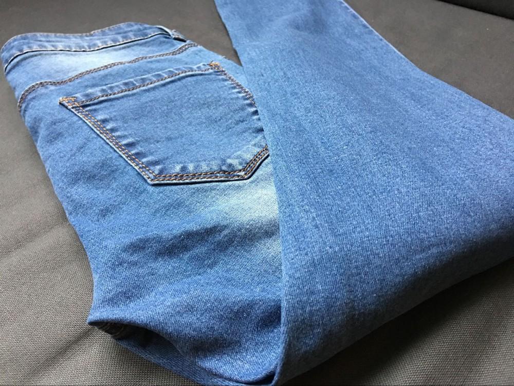 2016 fashion women's straight jeans mid waist blue solid denim pants female classic loose legs jeans