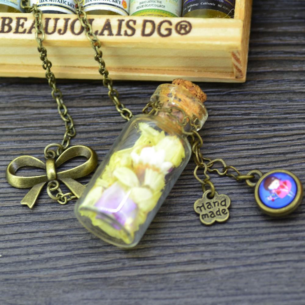Fashion Jewelry Yellow Real Dried Flower glass Wishing Bottle &glass dome pendant bow Necklace best gift ,Send gift box J0091(China (Mainland))