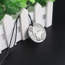 Buy rongji jewelry New Norse Vikings steampunk Wolf Head Talismans man women round Necklace Pendant Rope Chain for $1.43 in AliExpress store
