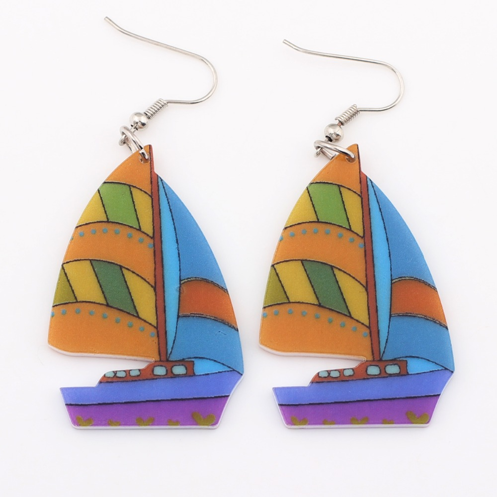 Bonsny Sailing Ship Boat Drop Earrings Long Acrylic Dangle Earrings Fashion Brand Jewelry For Women 2015 News Style Accessories(China (Mainland))