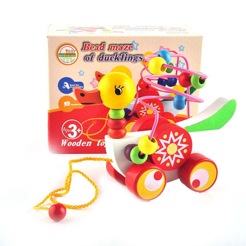 New Educational duckling trailer toy mini around beads learning game multicolour children kids puzzle baby infant wooden Toy(China (Mainland))
