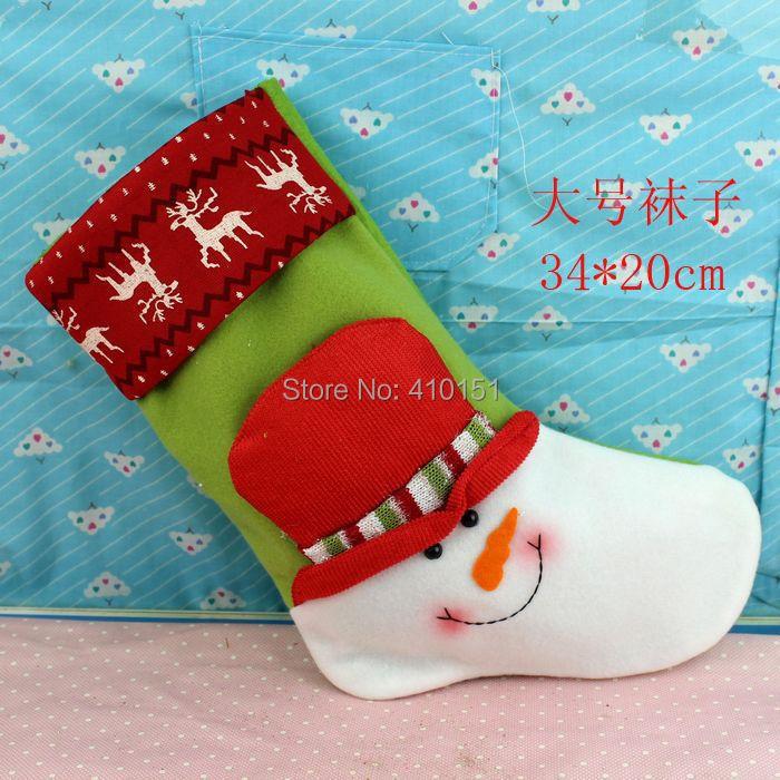 2014 Hot!!!Christmas articles market hanging 50PCS 34*20cm socks Christmas hanging drop 4 designs for Christmas mix order(China (Mainland))