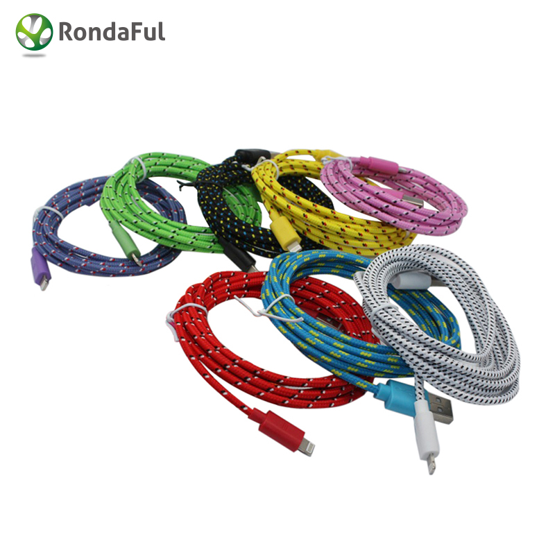 Colorful 1M 3ft nylon cable USB Applicable For Iphone5,5c ,6,6s ditambah 5C charger,This data,8Pin kabel,Higher system IOS 9(China (Mainland))