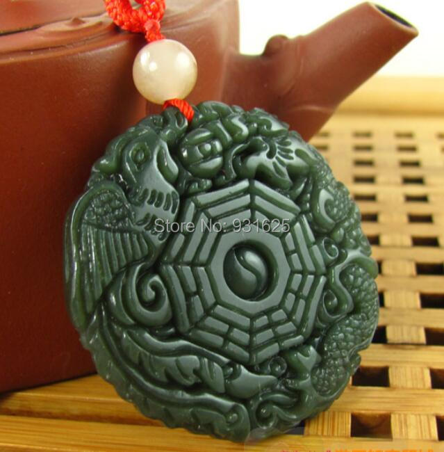 100% Natural Real HeTian Jade Pendants hand-carved Chinese Dragon Phoenix Eight Diagrams Green Jade pendant necklace()