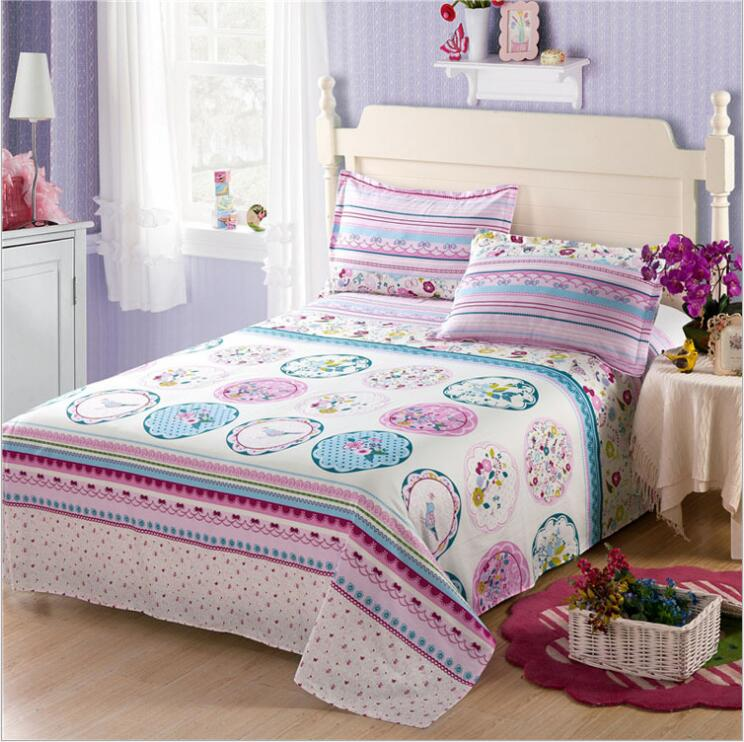 100 cotton bed sheet flower printed bedding linens for Sabanas para cama queen size