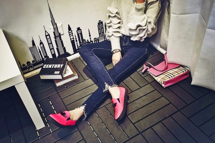 2016 New Women Loafers Casual Flats Heels Round Toe Pink Black Loafer Shoes Comfort Women Single Shoes Plus Size 40-43 z3.5