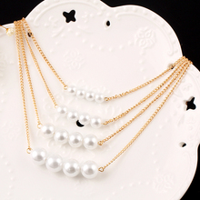 Trendy Multilayer Link Chain Necklace Alloy Plated Gold Big White Pearl Neckalce Summer Fashion Jewelry Body