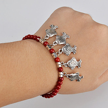 Fashion Vintage Tibetan Silver Bracelets Charms Red Coral Beaded Bracelet Jewelry For Women Cute Fish Charms Pulseiras Femininas(China (Mainland))
