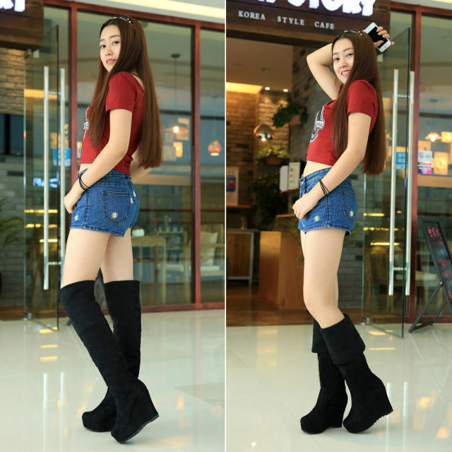 2015 Womens Hip Hop Punk Cool Rock Skull Head Wedges Over The Knee High Boots bt--010(China (Mainland))