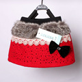 1pcs retail autumn winter Korean Diamond bow plush spell color girls skirt for children s clothing