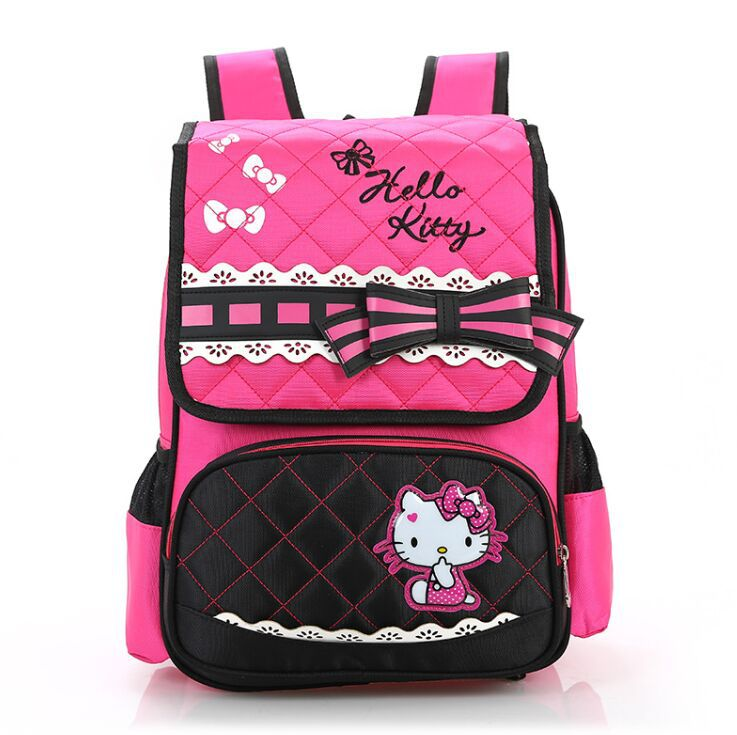 New Arrival Hello Kitty Backpack Portfolio for Girls Boys with good quality Racing Cars Primary School Knapsack Mochila Infantil(China (Mainland))
