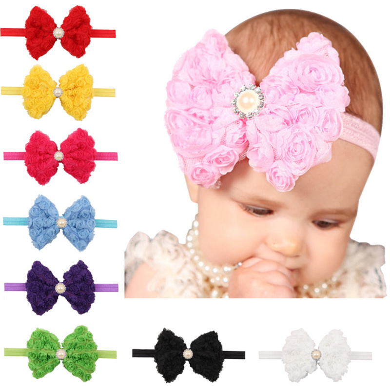 New hair accessories Pearl Chiffon floral of Flower Headband Band elastic Kids tiara Head bands for baby Girl Hairband cute Hot(China (Mainland))