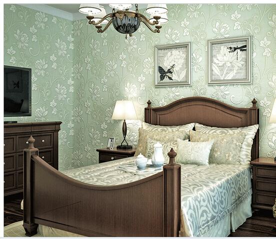 European Super Thick Anaglyph Stereoscopic 3 D Non Woven Wallpaper Light Green Bedroom Living