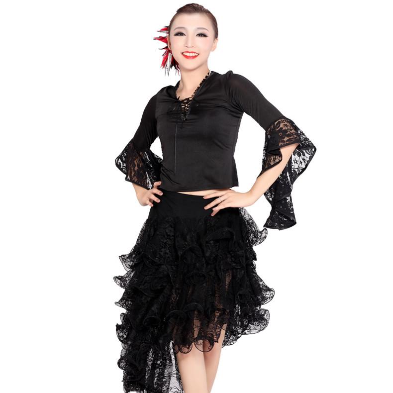 new woman lace splicing latin dance sets modern dance practice set black/blue/red tango/rumba/samba/square dance dress(China (Mainland))
