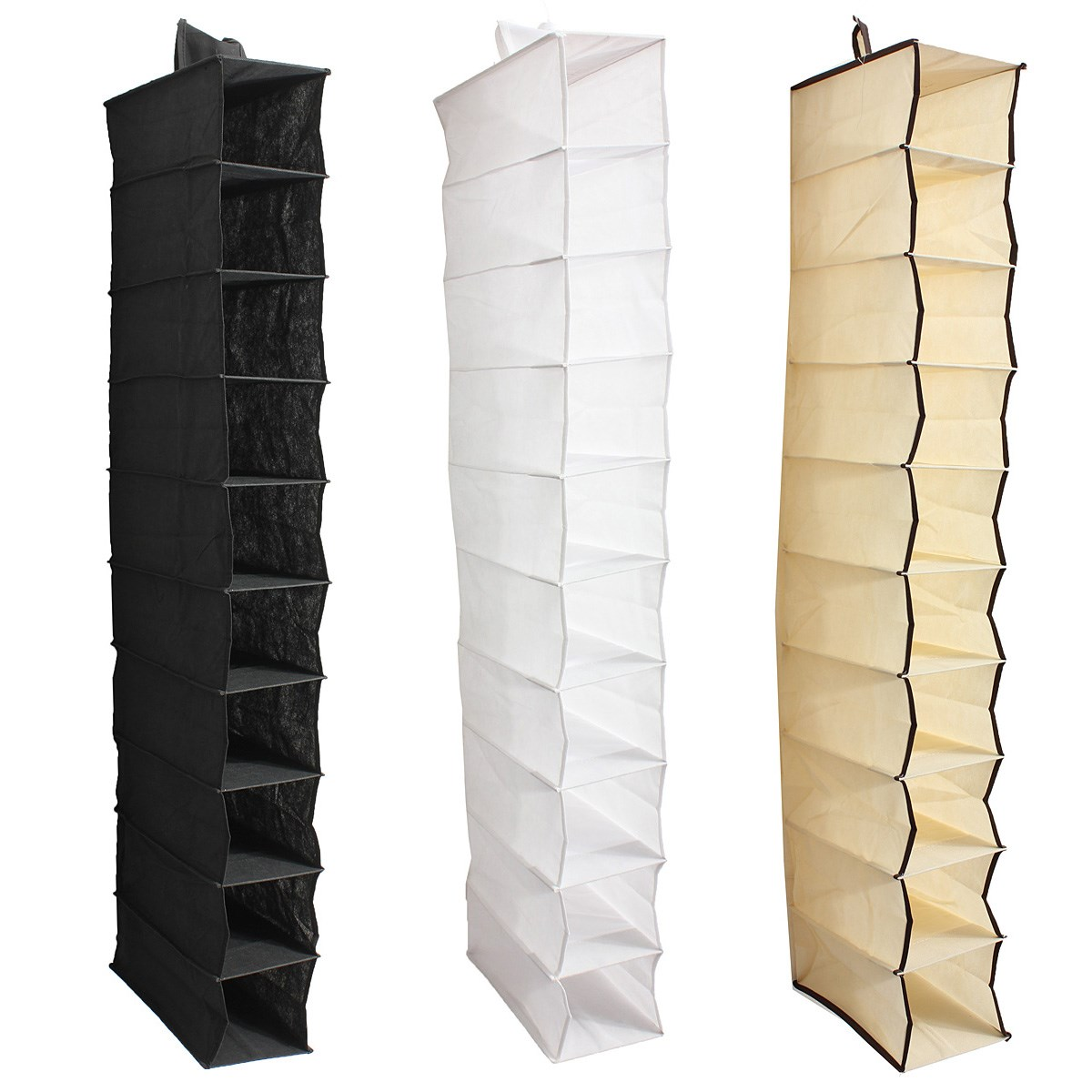 10 Section Shoes Garment Organiser Rack Storage Hanging Bag Stand Clothes Holder Wardrobe Door Behind Household(China (Mainland))
