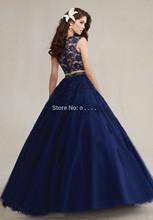 2016 alto cuello con cuentas Appliques del cordón del vestido azul marino dulce 16 Dress 2 unidades vestidos vestidos del Quinceanera bola(China (Mainland))