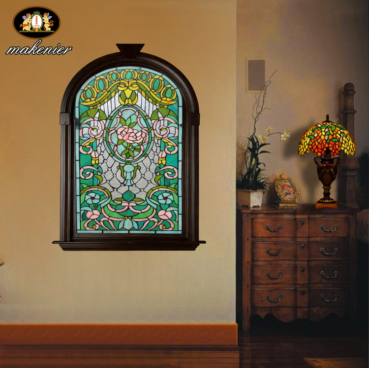 Colored Glass Wall Decor : Custom wood windows villas european church entrance foyer