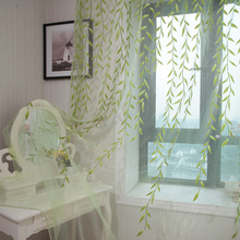 Ventana de la cortina rústica personalizar productos terminados balcón rosa verde(China (Mainland))