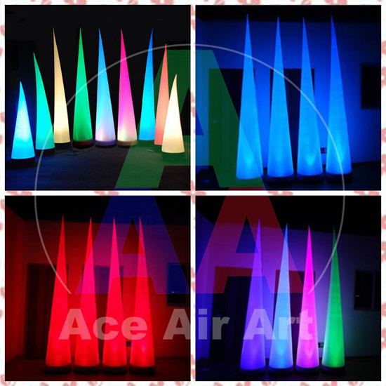 3m H Portable Light Inflatable Wedding Decorations Led Inflatable Cone(China (Mainland))