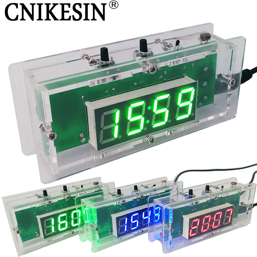 CNIKESIN DIY kit Digital clock Electronic clock C51 microcontroller LED digital temperature control diy clock 3colors (optional)(China (Mainland))