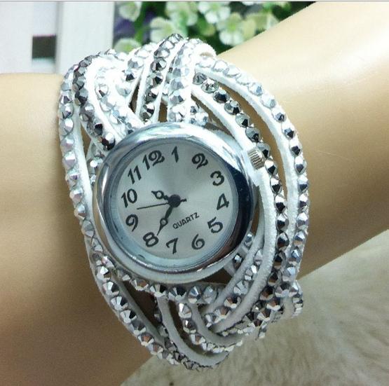 Free shipping 2015 New Geneva handmade retro bracelets table suede woven cross-winding Wristwatch for women W237(China (Mainland))