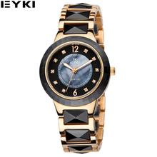 EYKI Black Gold Ceramic Women Watches 30 Meters Water Resistant Reloj Mujer Marcas Famosas Luxury Ladies Watch EMOS8635