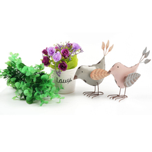 vintage home decoration a pair of cute metal stand birds leaf wings home & garden Furnishing Articles Pure craft free shipping(China (Mainland))