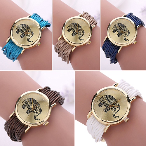 High Quality Womens Elephant Dial Colorful Multi Layers Chain Braided Wrap Bracelet Wrist Watch <br><br>Aliexpress