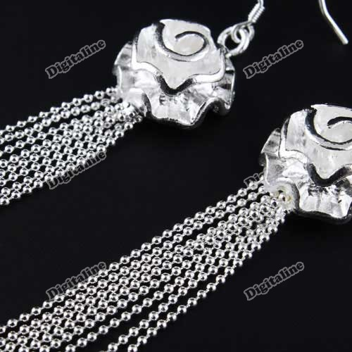 DigitaLine Market Elegant Long Tassel Flower Rose Jewelry Ear Hook Earrings Vintage Silver Gift(China (Mainland))