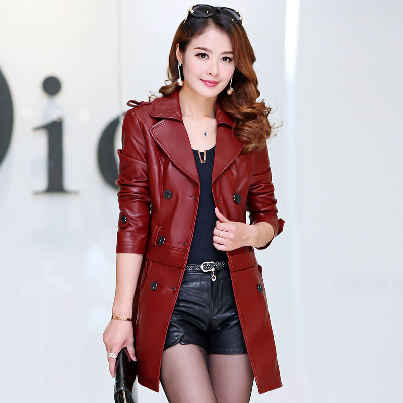 2 Ways to wear faux fur collar imitation sheep skin leather jacket women good quality leather jacket with detachable bottom part(China (Mainland))