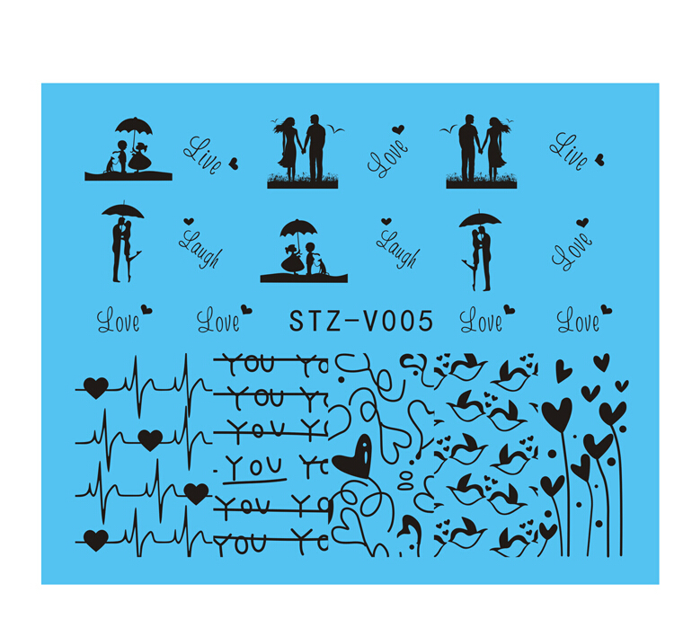 1x New Water Transfer Nail Stickers Sexy Grils Nail Art Stickers Decals Patch Finger Decorations Manicure Care Tools STZV005(China (Mainland))
