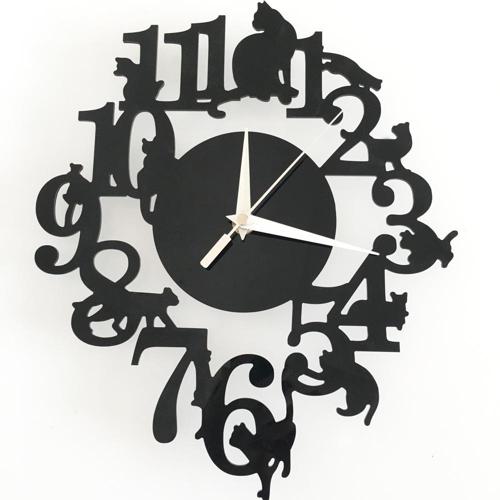 reloj de pared digital Clock Mural Lovely Cartoon Black Cats Clock Acrylic Crystal Mirror Wall Clock Melting Clock Home Decor(China (Mainland))