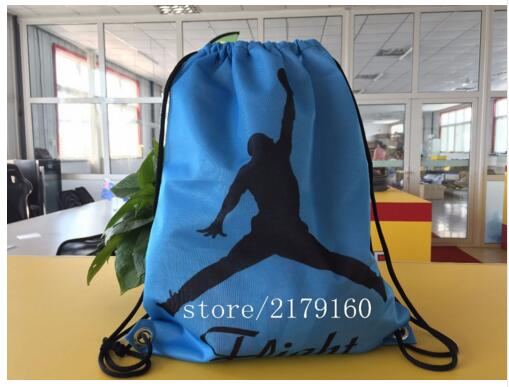 35*45 cm basketball logo sports knitted polyester drawstring backpack Metal Grommets(China (Mainland))
