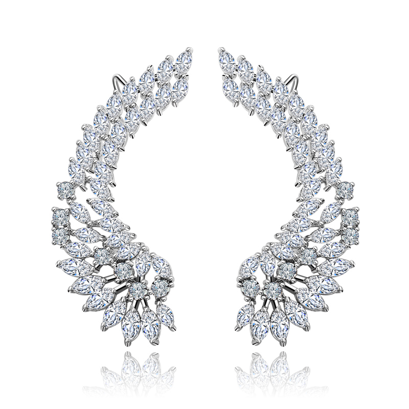 925 Luxury Lady's Silver Post Cubic Zircon Crystal Angel Wing Ear Sweep Wrap Cuff Earrings Climber Earrings(China (Mainland))