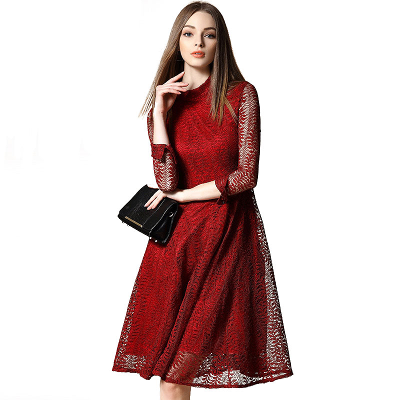 Spring Long Sleeve Stand Collar Midi Lace Dresses For Women 2016 New Hollow Out Solid Color Red Gray Vestido Do Rendo 1788