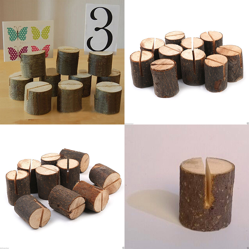 10 Wooden Base Rustic Wedding Table Number Place Name MEMO Card Stand Holder DIY Home Wedding Party Decors(China (Mainland))