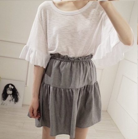 2016 New Product White Cute Half Length Batwing sleeve Shirt + Solid color suspender Dress Tow piece set 8072#(China (Mainland))