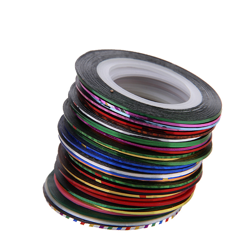 Retail 1 Set Free Shipping 30 colours/set nail art stripping tape 30 pcs set(China (Mainland))