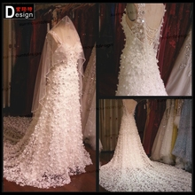 new Luxury Real Sample Backless Heavy Beads Cape Wedding Dresses 2016(China (Mainland))