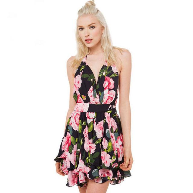 Сексуальные летние топы элегантный тонкий рукавов цветочным принтом шифоновое платье недавно прибытие 2016 В - шеи симпатичные спинки широкий платья