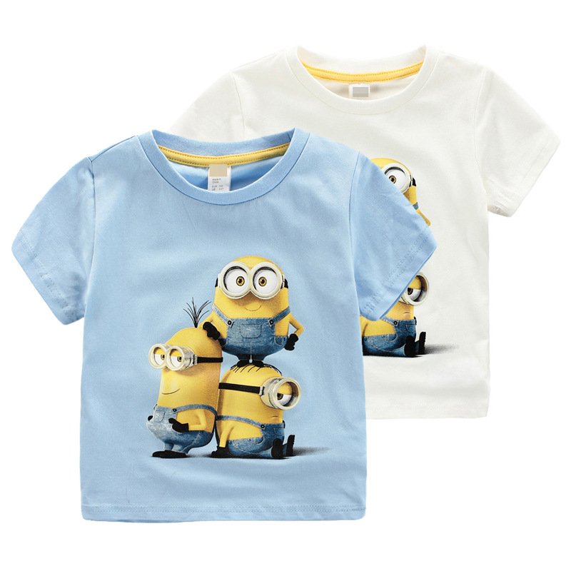 New 2015 100% Cotton boys t shirt despicable me 2 minions short t-shirts kids baby children t shirts, child short sleeve clothes(China (Mainland))