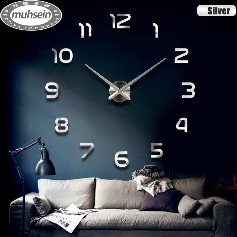 Fashion 3D big size wall clock mirror sticker DIY brief living room decor meetting room wall clock(China (Mainland))