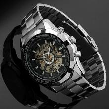 New 2016 WINNER Classic Skeleton Mechanical Wristwatch Automatic Steel Watch Silver Black X Dial
