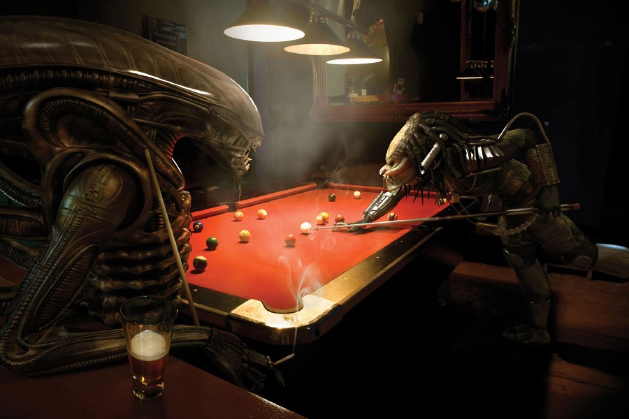 Predator bar aliens vs predator movie billiards tables alien cloth silk art wall poster and prints(China (Mainland))